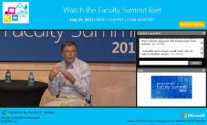 Bill Gates in Microsoft Virtual Faculty Summit 2013
