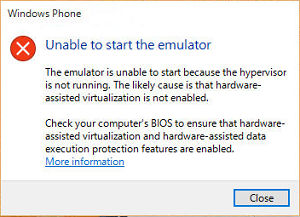 Unable to start the emulator