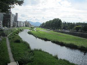 中津川の釣り人