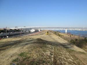 江戸川堤防工事中